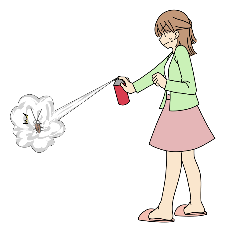 ゴキブリへ殺虫スプレーを噴射する女性