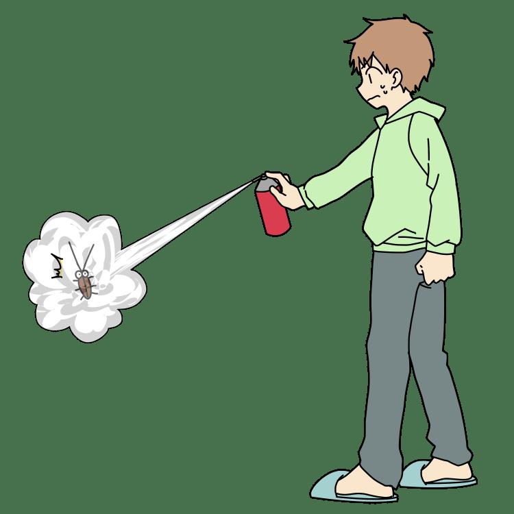ゴキブリへ殺虫スプレーを噴射する男性