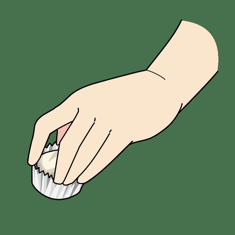 ホウ酸団子を設置する手