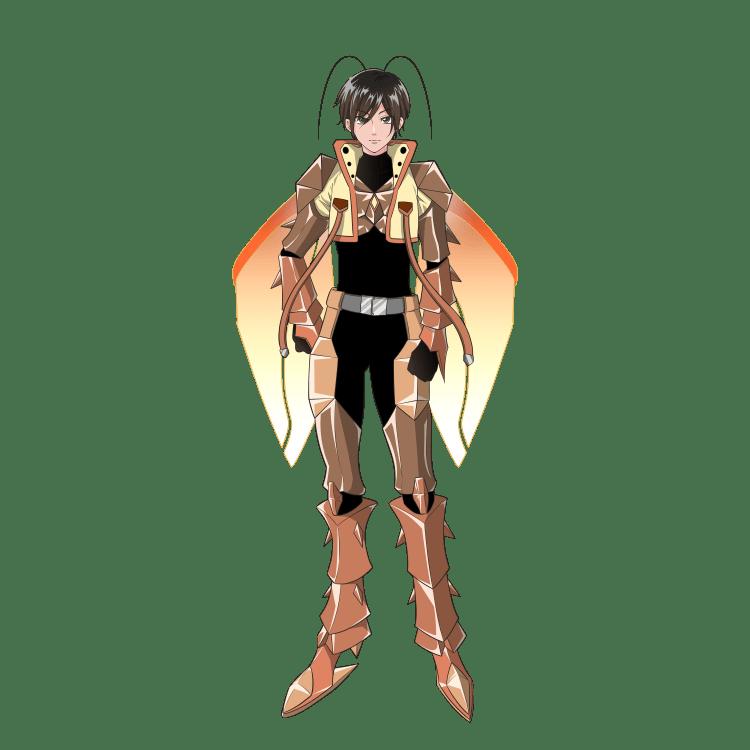 擬人化:特撮ヒーローになったオスゴキブリ(立ち絵・仮面なし)