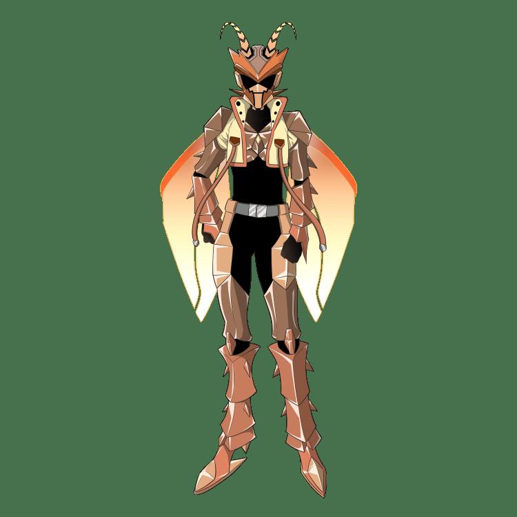 擬人化:特撮ヒーローになったオスゴキブリ(立ち絵・仮面あり)
