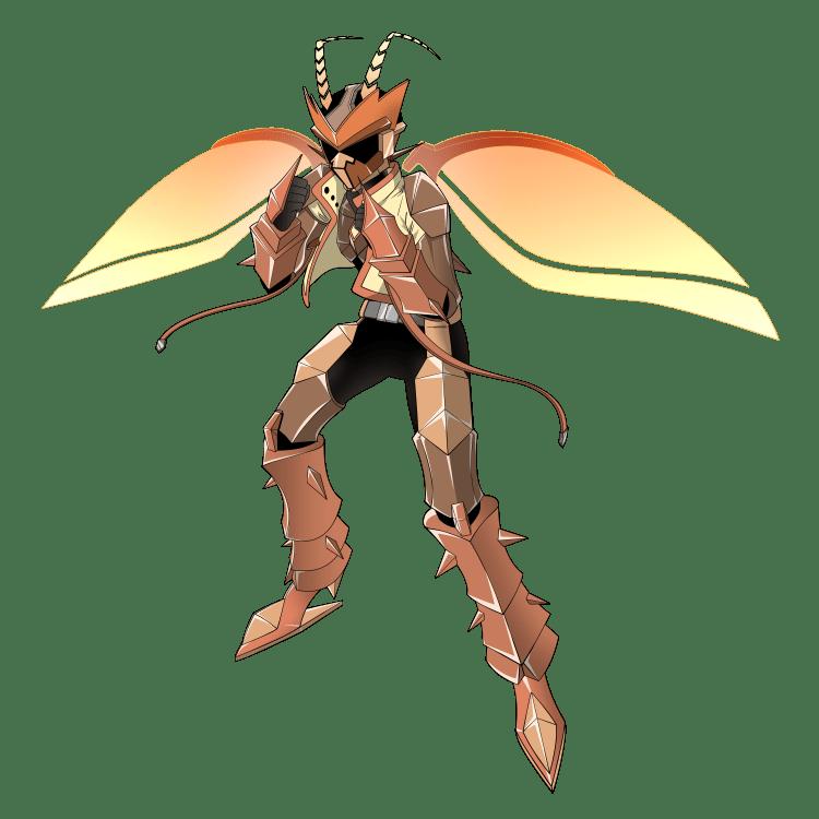 擬人化:特撮ヒーローになったオスゴキブリ(戦闘ポーズ)
