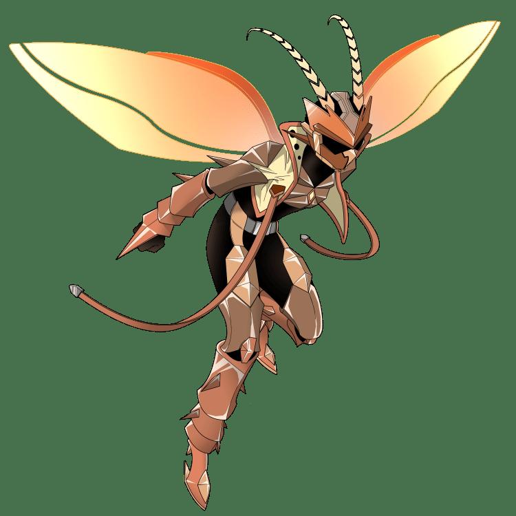 擬人化:特撮ヒーローになったオスゴキブリ(飛び立つポーズ)