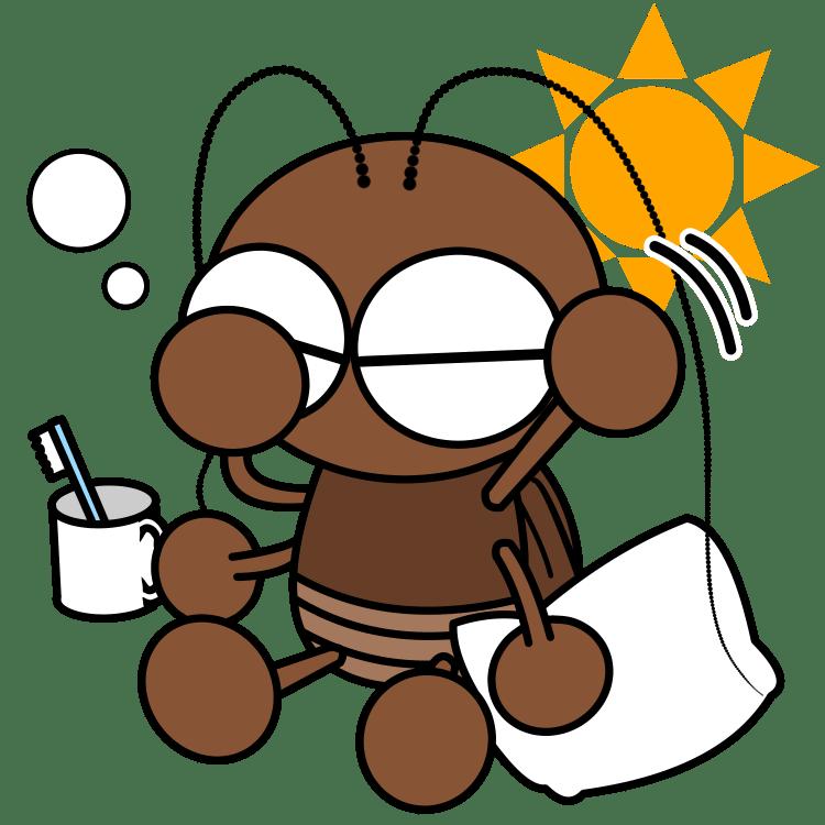 寝起きのゴキブリ