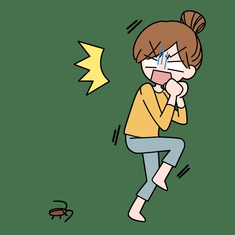 ゴキブリに驚く女性