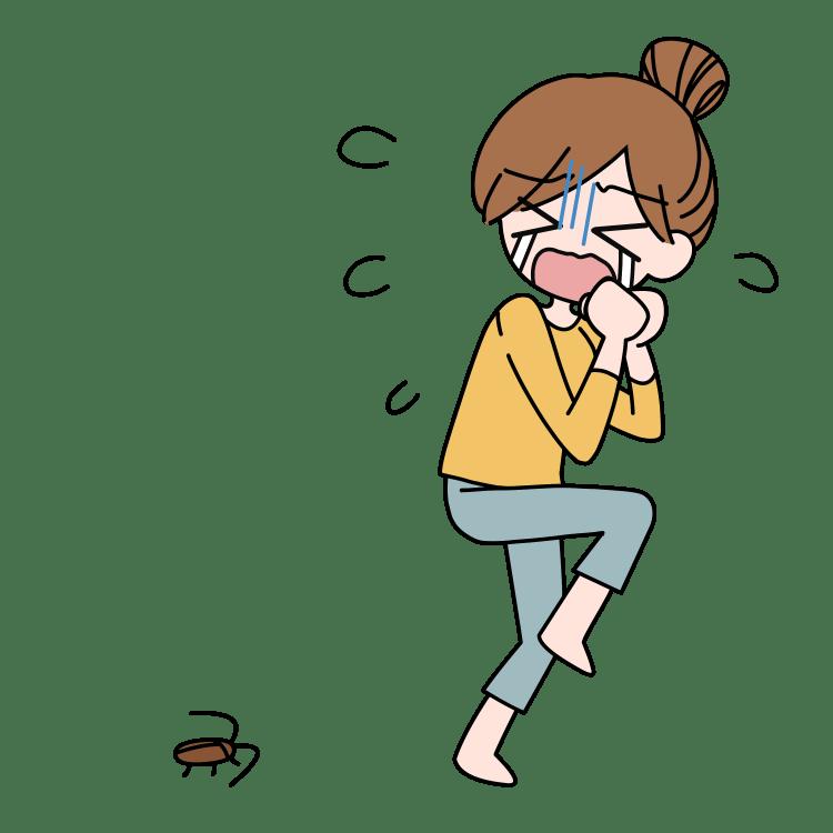 ゴキブリに泣く女性
