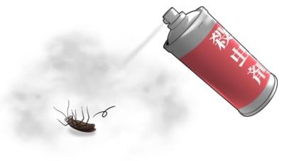 殺虫スプレーでゴキブリをノックダウン