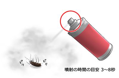 ゴキブリに殺虫スプレーを噴射する時間の目安は3~8秒