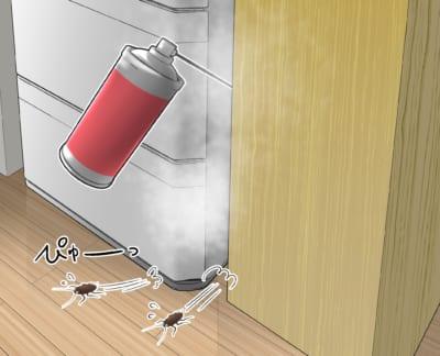 追い出し効果のあるスプレー剤を冷蔵庫の隙間に噴射