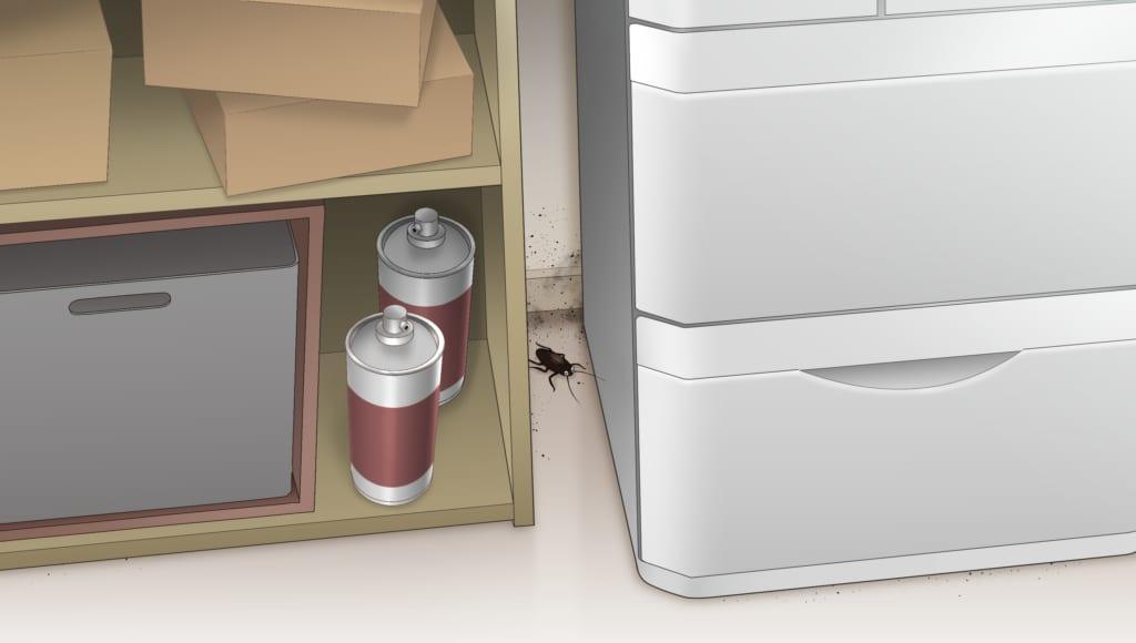冷蔵庫と棚の隙間でじっとしているゴキブリ