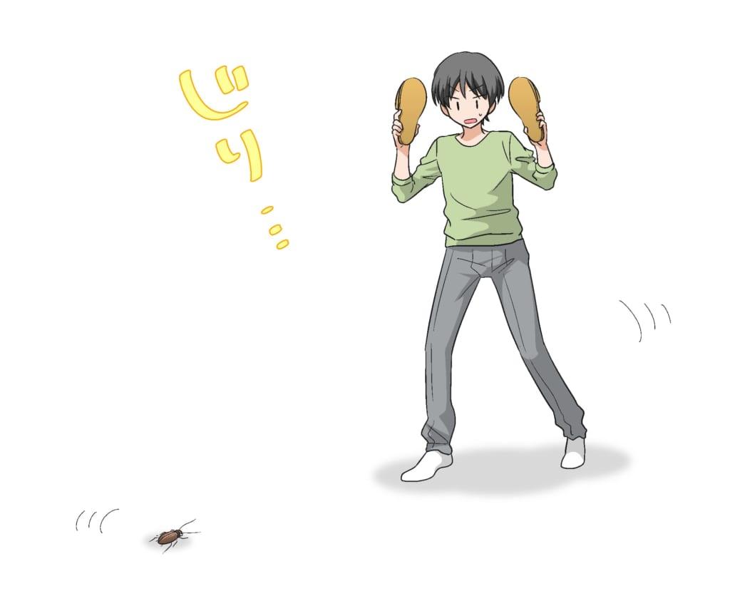 ゴキブリを正面から倒そうとしている男性