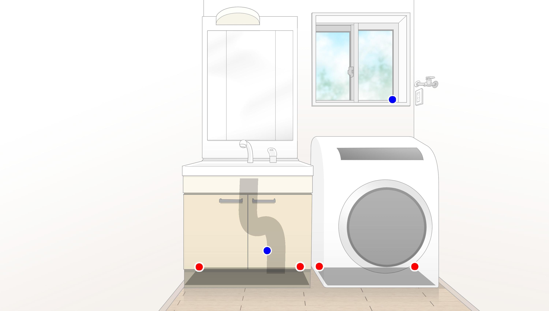 洗面所のゴキブリ侵入場所とベイト剤設置場所