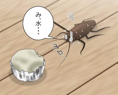 ホウ酸団子を食べて水をほしがるゴキブリ