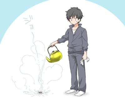 ゴキブリに熱湯をかける男性