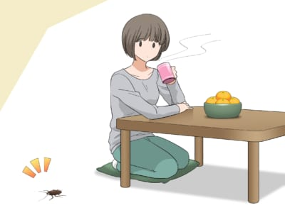 部屋で寛ぐ女性と傍を通過するゴキブリ