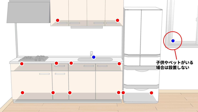 台所のゴキブリ侵入場所とベイト剤設置場所