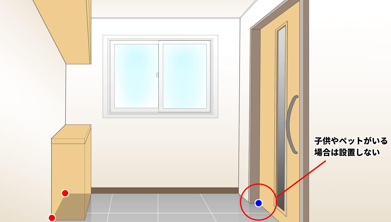 玄関のゴキブリ侵入場所とベイト剤設置場所