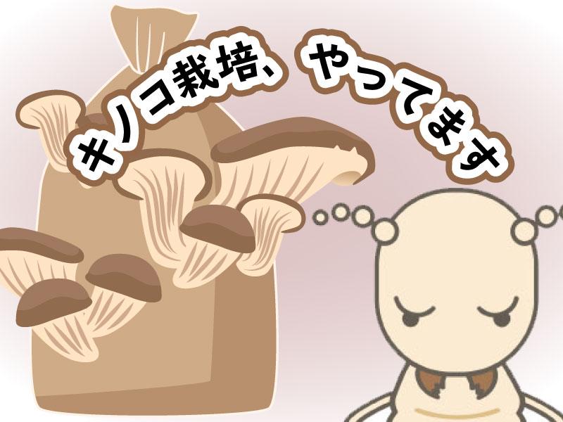 キノコ栽培をするシロアリをイメージしたイラスト