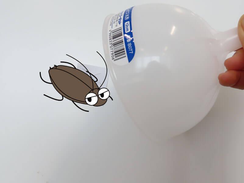 「AZジョウゴ丸形9cm」でゴキブリを捕まえる様子