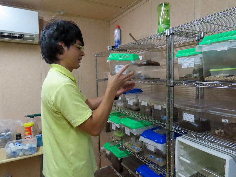 ゴキブリの飼育ケースを手に持つ柳澤静磨さん