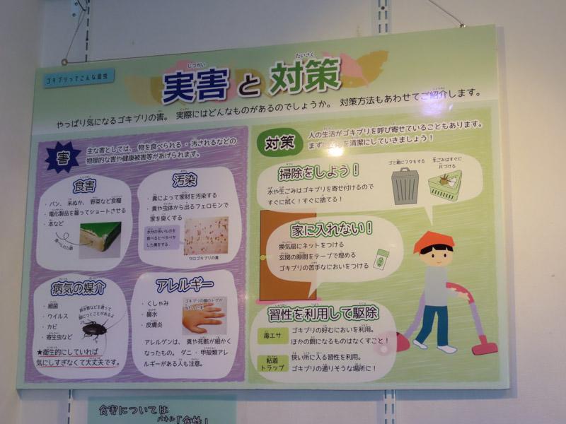ゴキブリの実害と対策を記載した解説パネルの写真