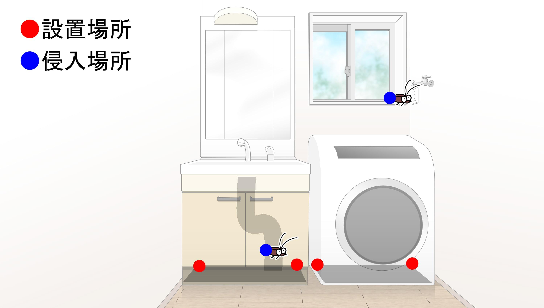 脱衣所・洗濯機置き場・洗面所のゴキブリ侵入場所と「ゴキちゃんストップ ウーマンデザイン」設置場所