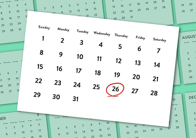 印を付けたカレンダーのイラスト