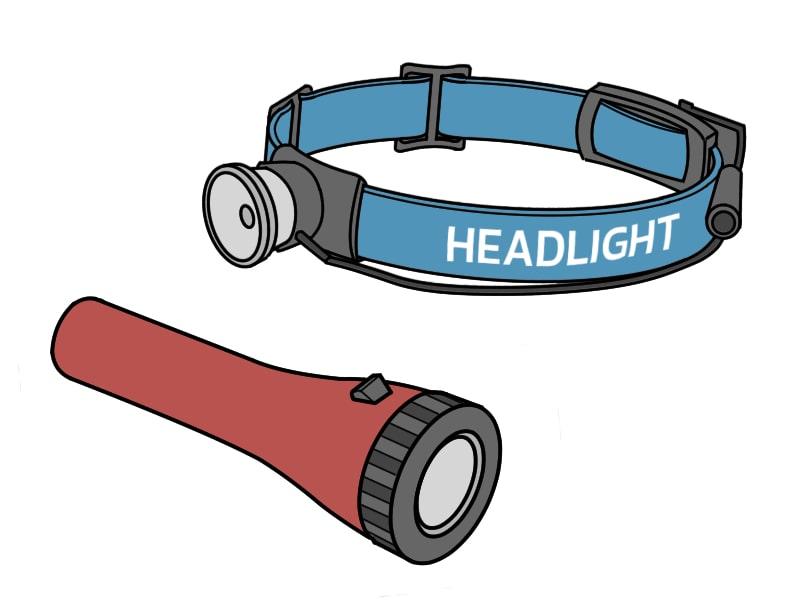ヘッドライトと懐中電灯