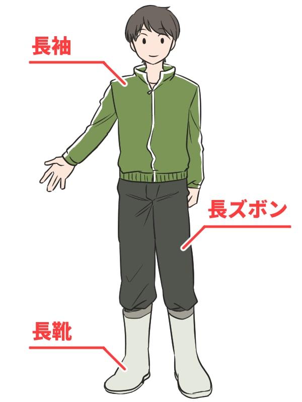 長袖、長ズボン、長靴を履いた男性