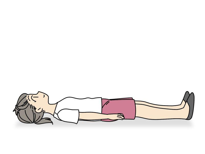 """""""仰向けになって寝そべった状態で両手足を"""""""
