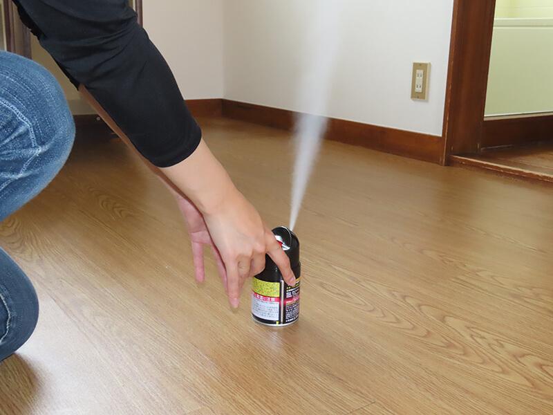バルサン プロEX ノンスモーク霧タイプのボタンを押して薬剤を噴射している様子