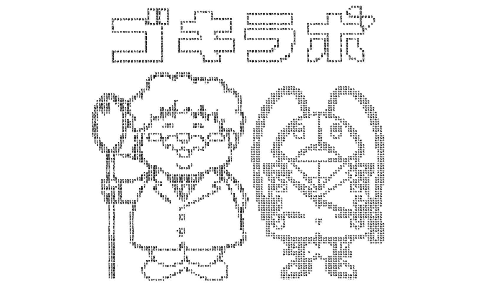 ゴキラボのキャラクターのごきた博士とゴキワンのアスキーアート