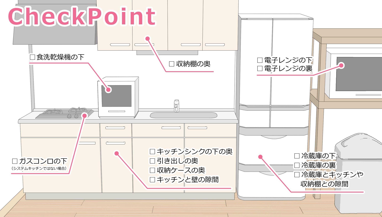収納棚の奥、食洗乾燥機の下、ガスコンロの下、キッチンシンクの下の奥、引き出しの奥、収納ケースの奥、キッチンと壁の隙間、電子レンジの下、電子レンジの裏、冷蔵庫の下、冷蔵庫の裏、冷蔵庫とキッチンや収納棚との隙間