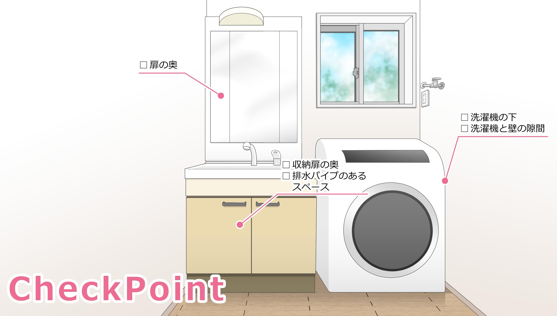 洗面所のチェックポイントは扉の奥、収納扉の奥、排水パイプのあるスペース、洗濯機の下、洗濯機と壁の隙間